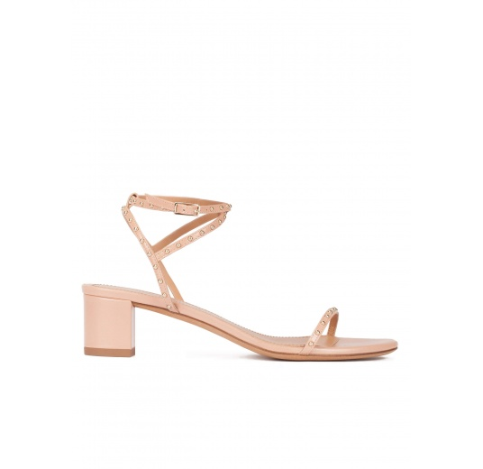 Strappy mid block heel sandals in nude leather with studs Pura L�pez