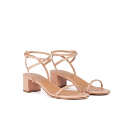 Strappy mid block heel sandals in nude leather with studs Pura López