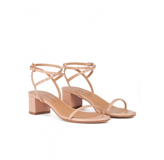 0dad47510e0 ... Strappy mid block heel sandals in nude leather with studs Pura L pez