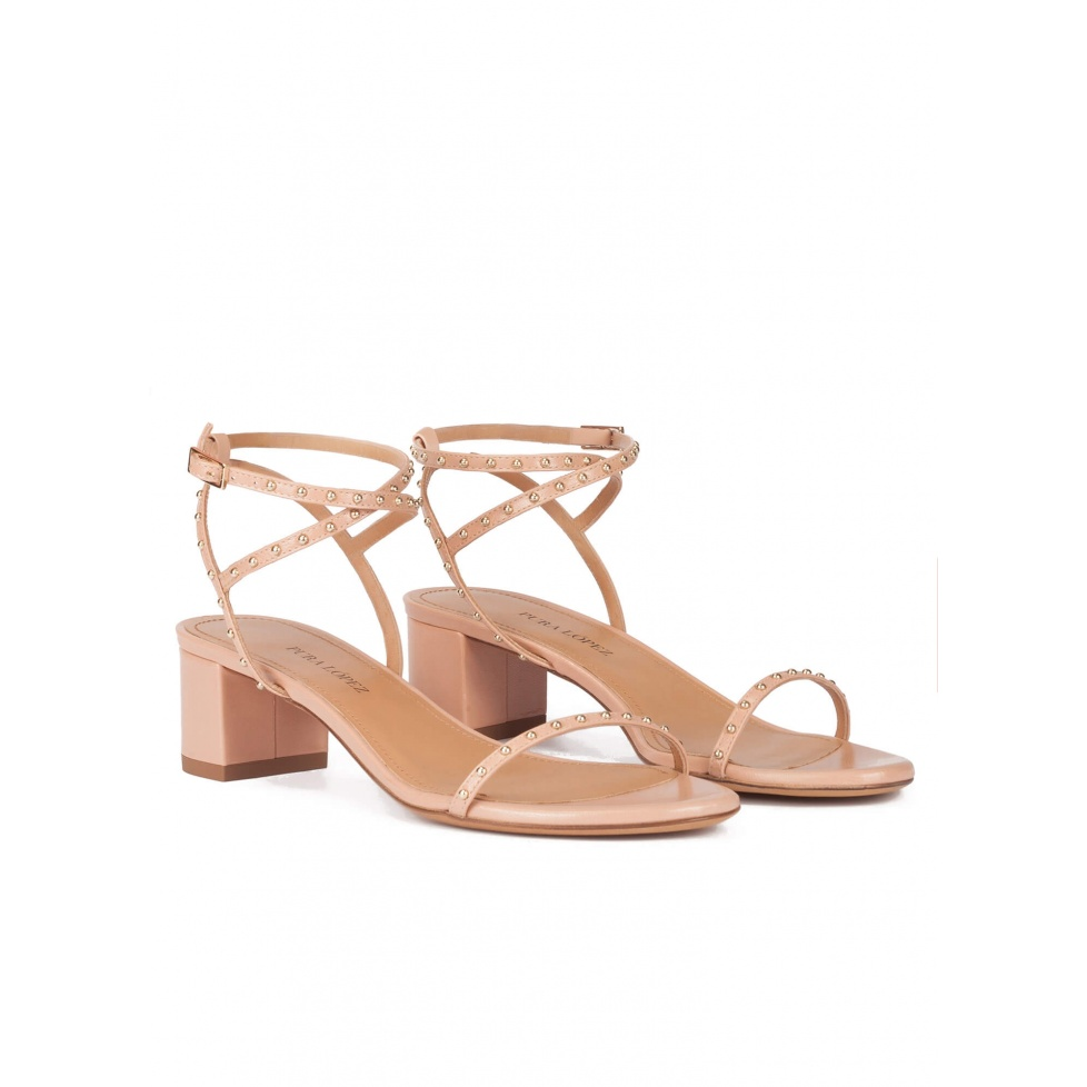 Strappy mid block heel sandals in nude leather with studs