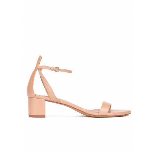 Ankle strap mid block heel sandals in nude leather Pura López