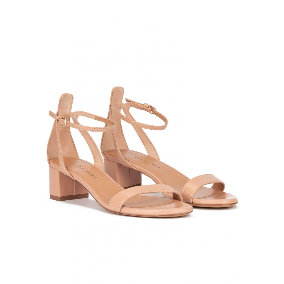 Ankle strap mid block heel sandals in nude leather