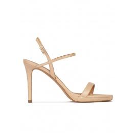Sandalias de plataforma y tacón alto en piel beige Pura López