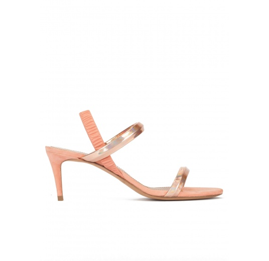Mid heel sandals in nude metallic leather with tubular straps Pura L�pez