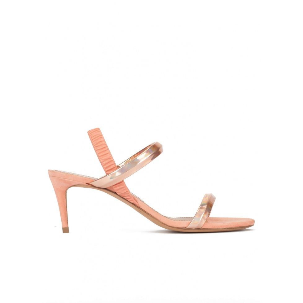 Mid heel sandals in nude metallic leather with tubular straps