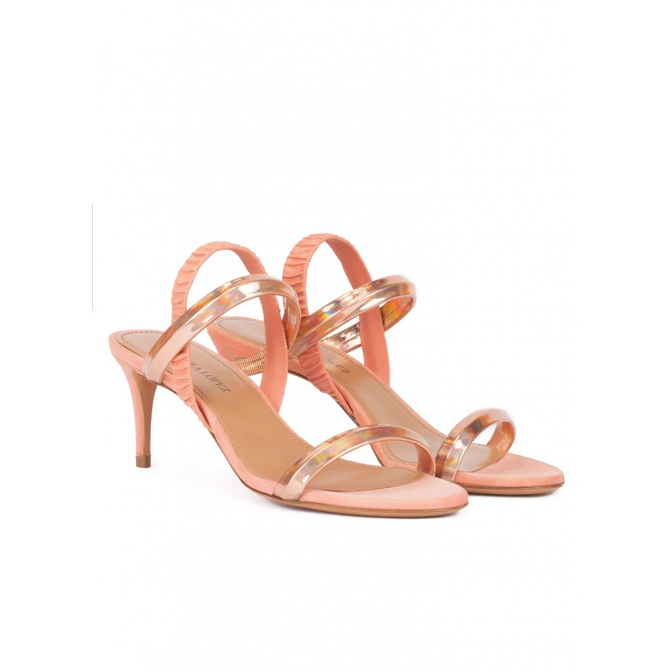 Mid heel sandal in nude metallic leather with tubular strap