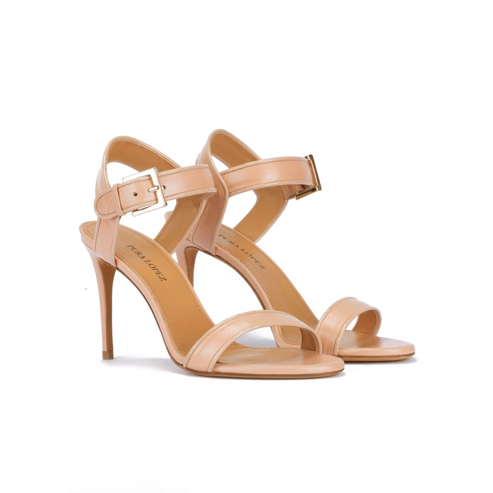 Strappy high-heeled sandals in nude leather with patent