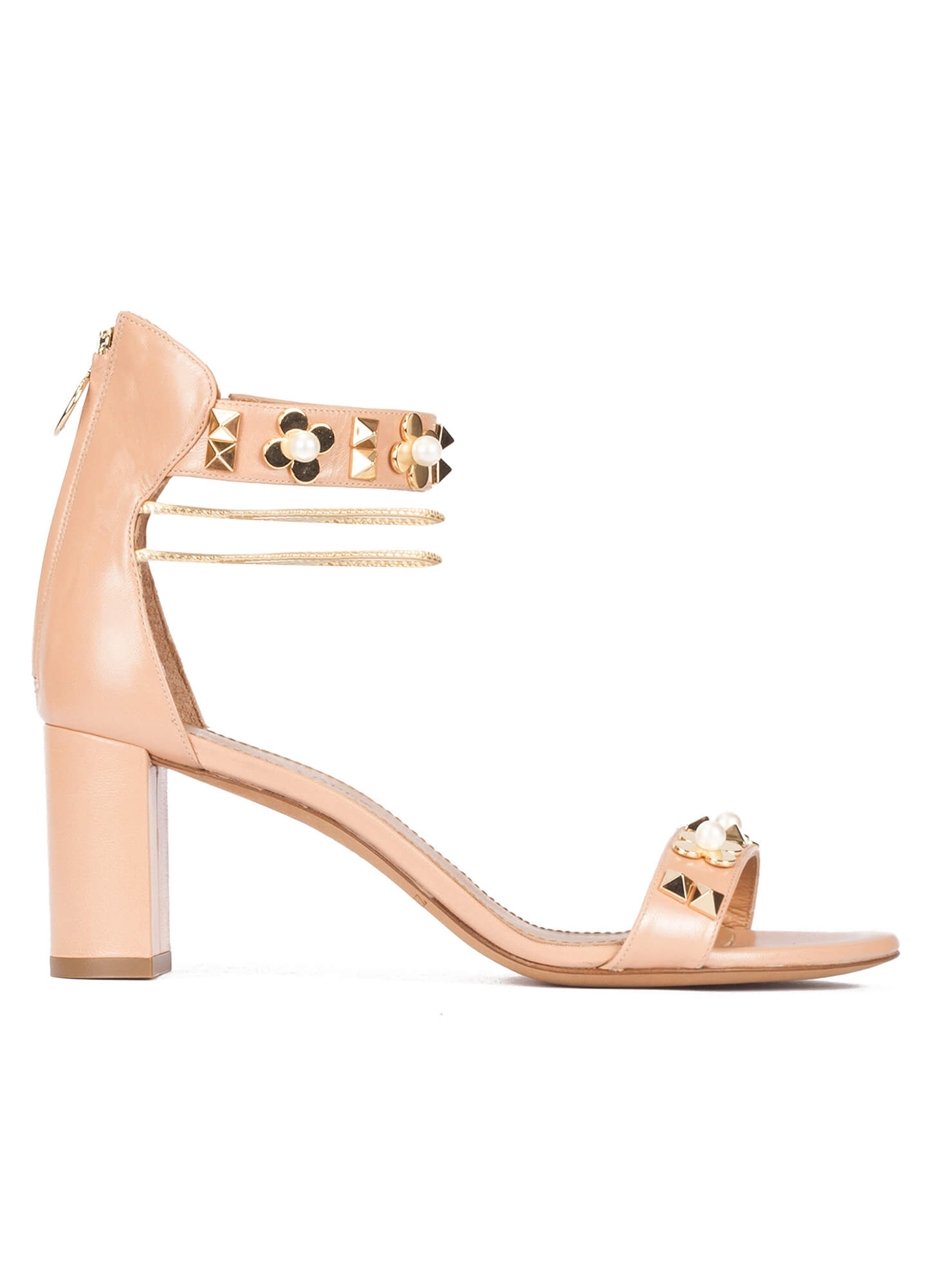 fc2a536fba9c Orabela Pura López. Mid block heel sandals in nude leather with flower  trims ...