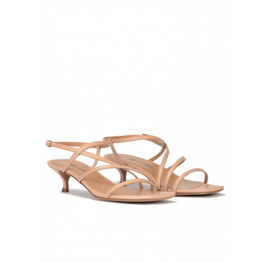 Mid heel sandal in nude leather with strappy design Pura López