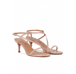Sandalias de tacón medio en piel nude con finas tiras Pura López
