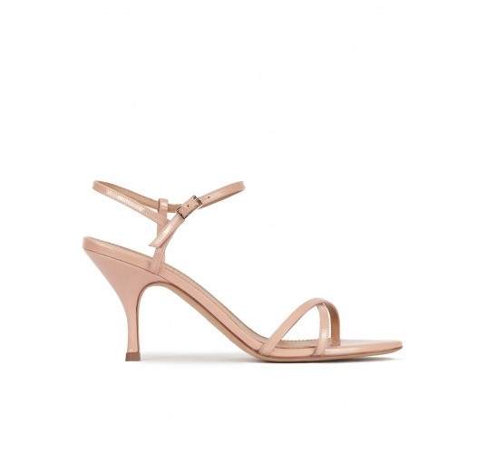 Strappy mid heel sandals in nude patent leather Pura López