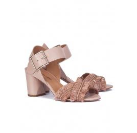 Nude fringed mid block heel sandals Pura López