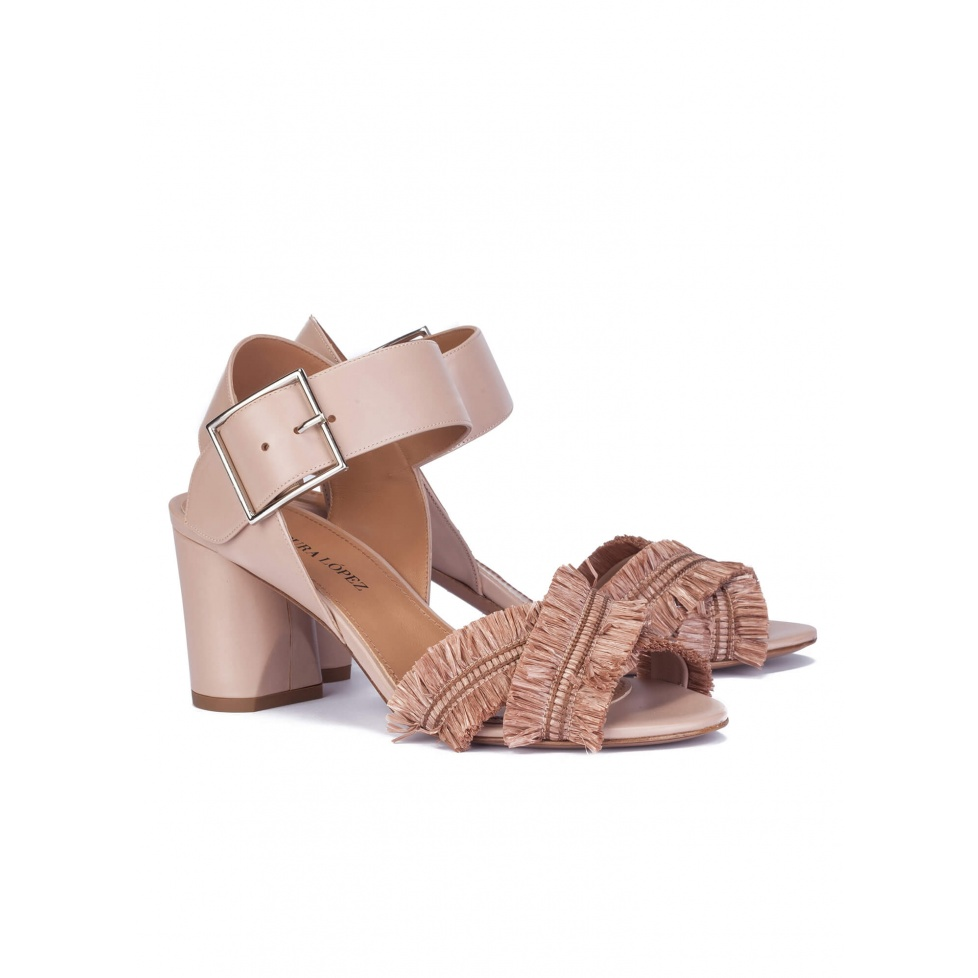 Fringed sandals in nude leather - online shoe store Pura Lopez