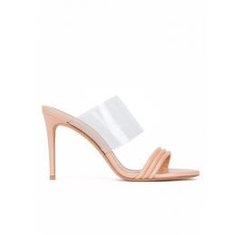 High heel mules in nude leather and transparent vinyl Pura López