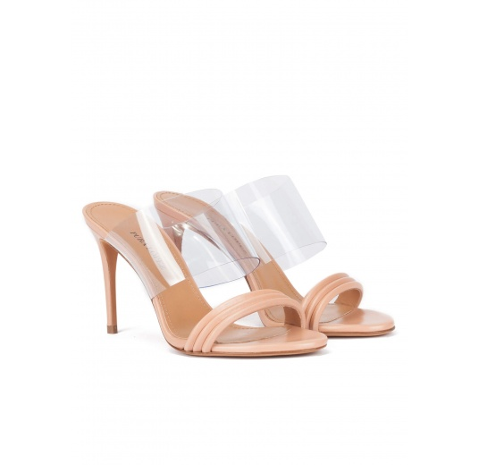 High heel mules in nude leather and transparent vinyl Pura L�pez