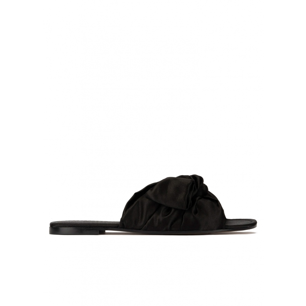 Black satin slides with bow detail