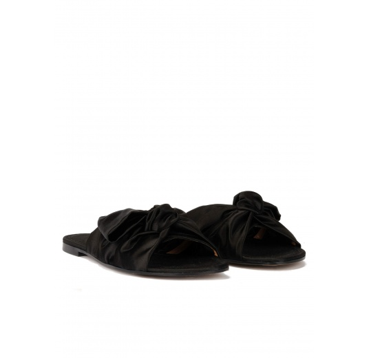 Black satin slides with bow detail Pura López