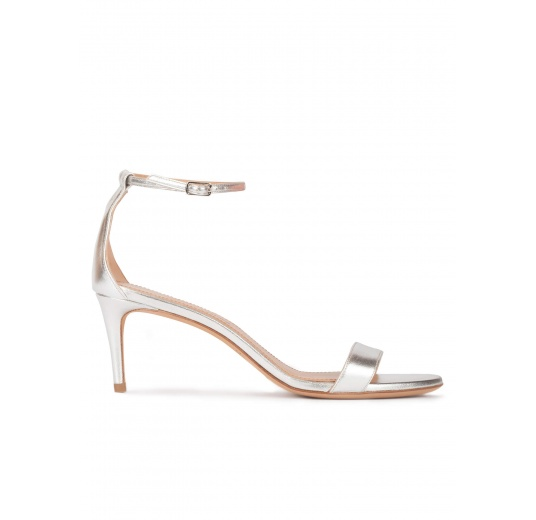 Silver leather mid heel sandals with ankle strap Pura L�pez