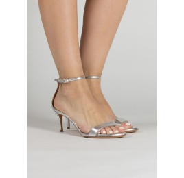Silver leather mid heel sandals with ankle strap Pura López
