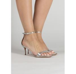 Sandalias plateadas de medio tacón con pulsera Pura López