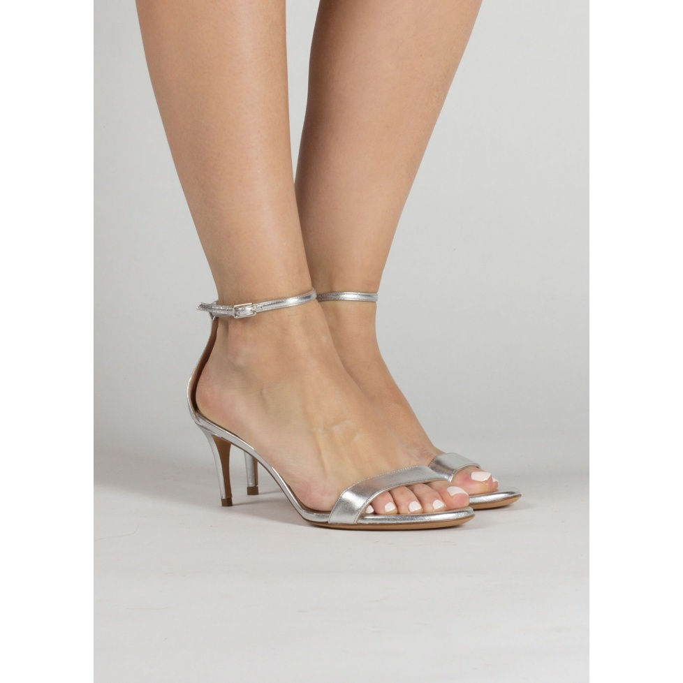 Silver leather mid heel sandals with ankle strap