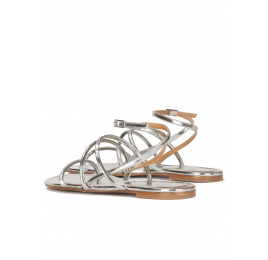 Strappy flat sandals in silver leather Pura López