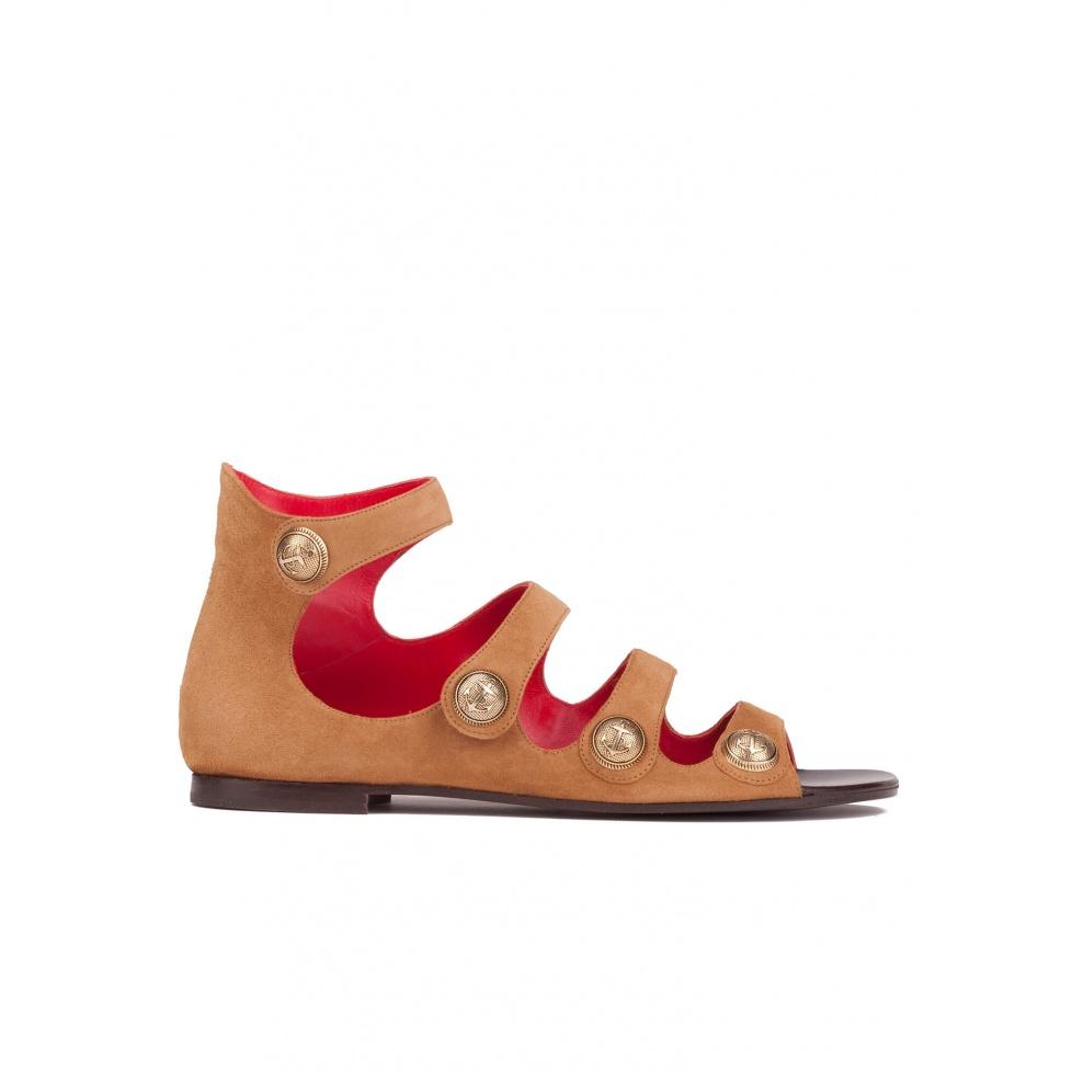 Flat sandals in hazelnut suede