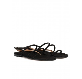 Ankle strap flat sandals in black suede Pura López