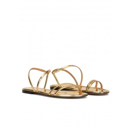 Multi-strap flat sandals in gold mirrored leather Pura López