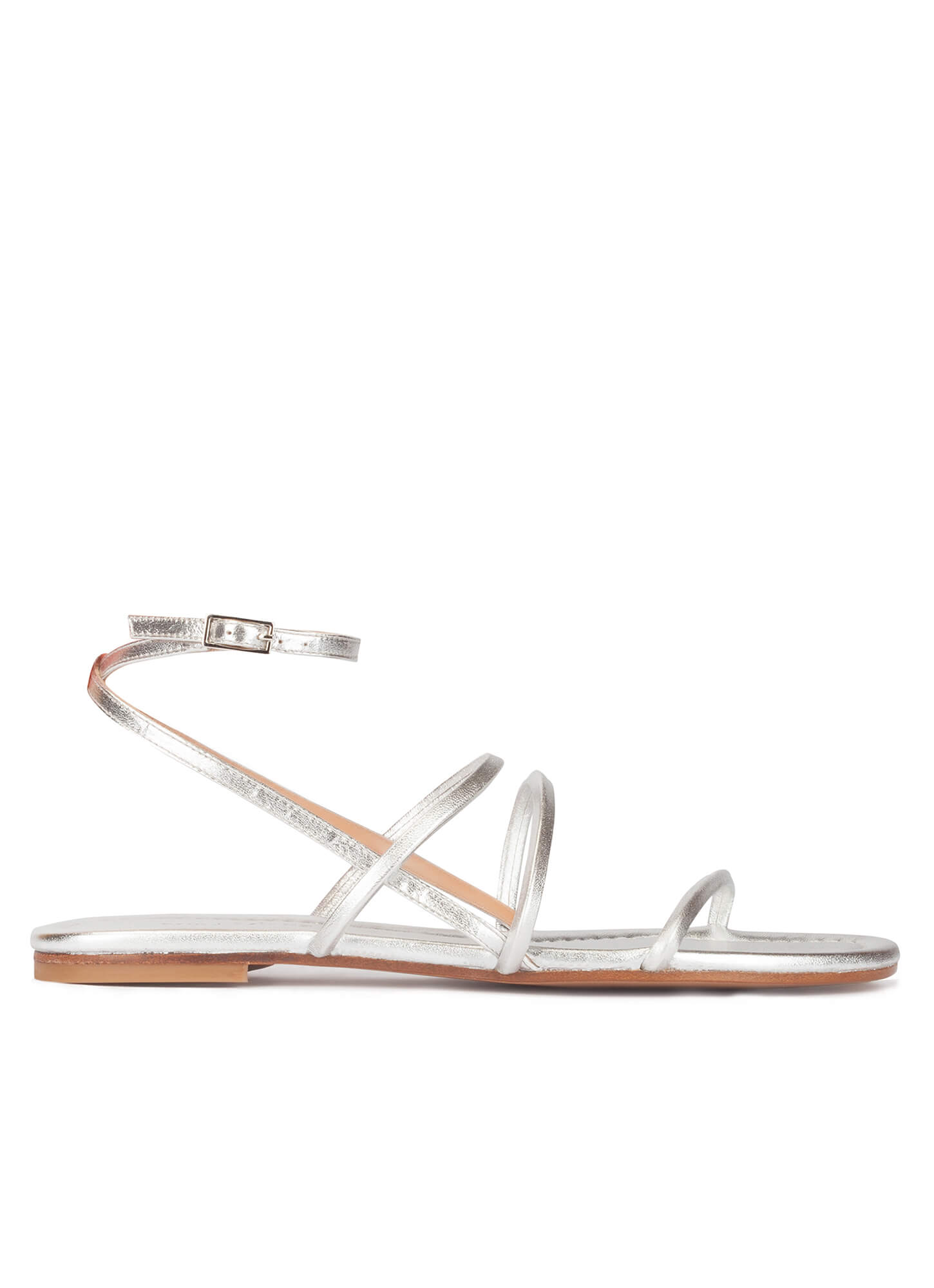 f5f41685a Strappy flat sandals in silver leather . PURA LOPEZ