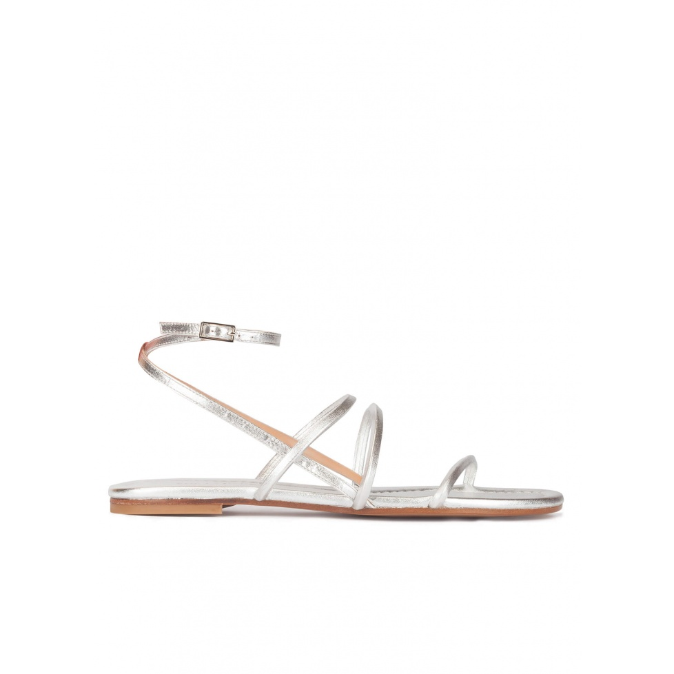 Strappy flat sandals in silver leather