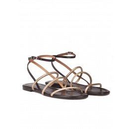 Black-gold leather ankle strap flat sandals Pura López