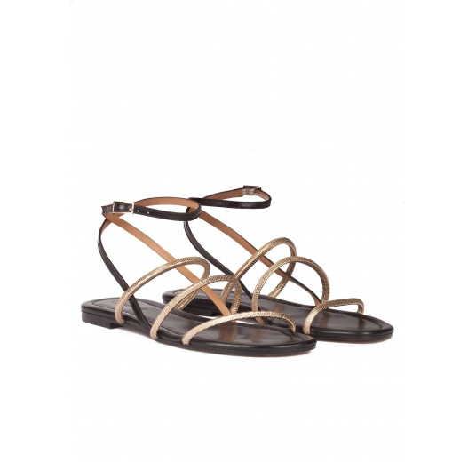 Black-gold leather ankle strap flat sandals Pura L�pez