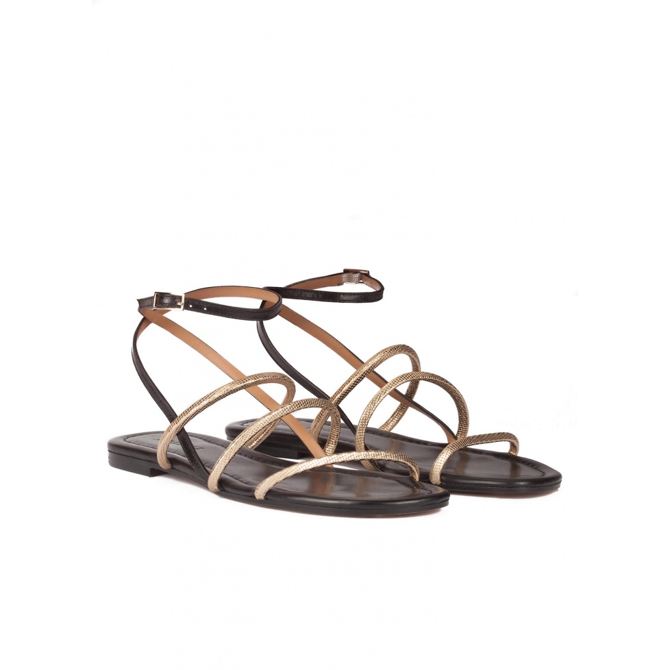 Black-gold leather ankle strap flat sandals