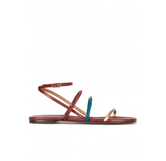 Gold, blue and burgundy leather ankle strap flat sandals Pura L�pez