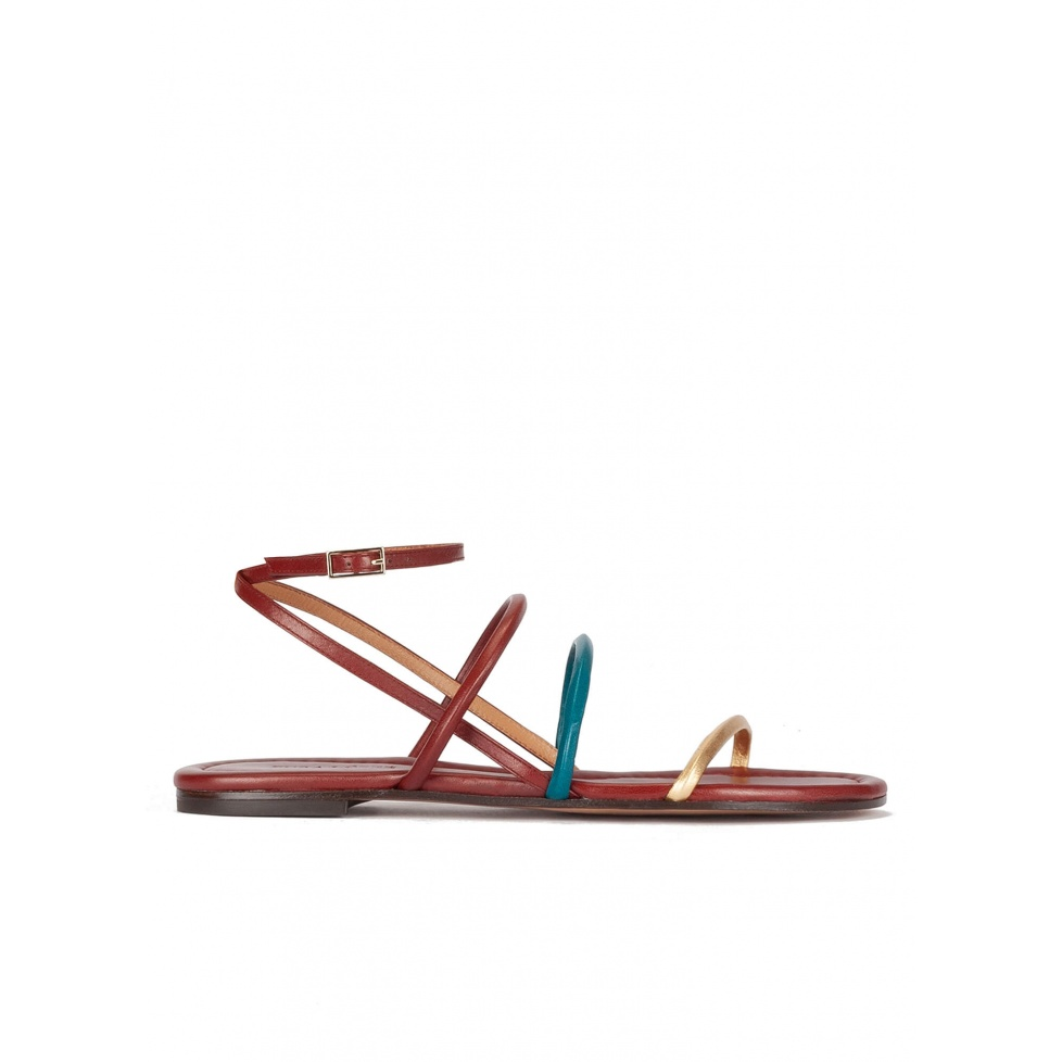 Gold, blue and burgundy leather ankle strap flat sandals