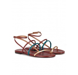 Gold, blue and burgundy leather ankle strap flat sandals Pura López