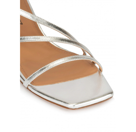 Strappy mid heel sandals in silver metallic leather Pura López