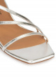 Strappy mid heel sandals in silver metallic leather