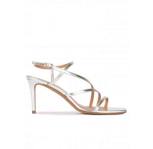 Silver mid heel squared-off toe sandals Pura López
