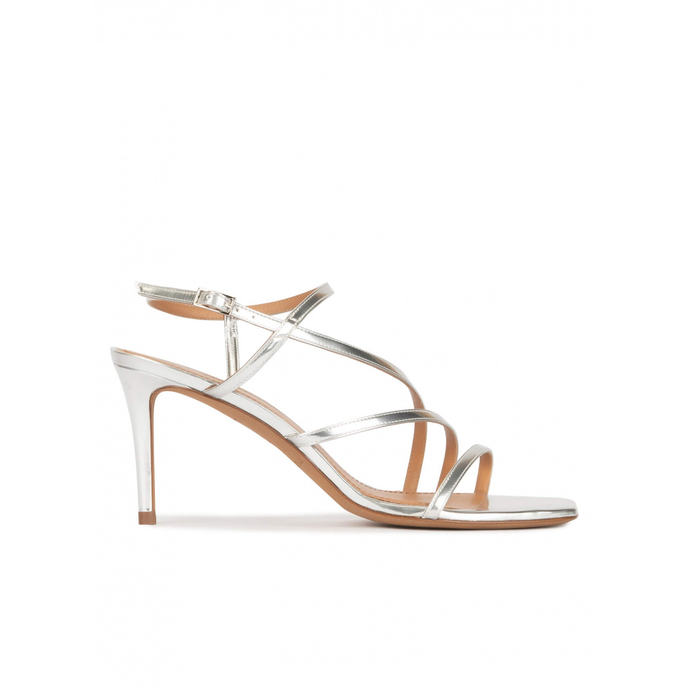Silver mid heel squared-off toe sandals