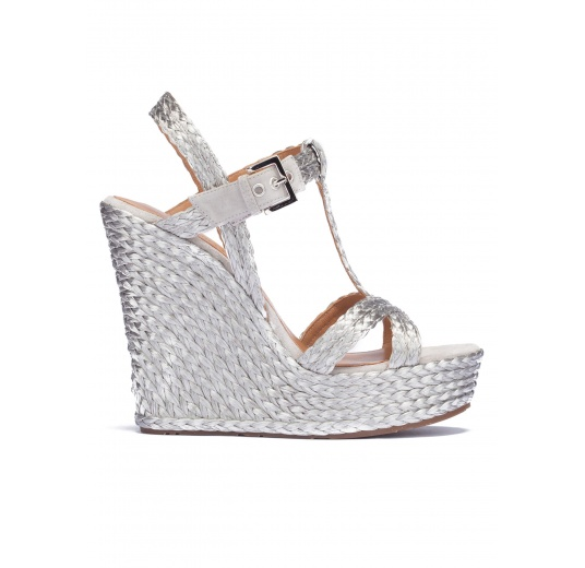 Silver T-bar espadrille wedge sandals Pura López