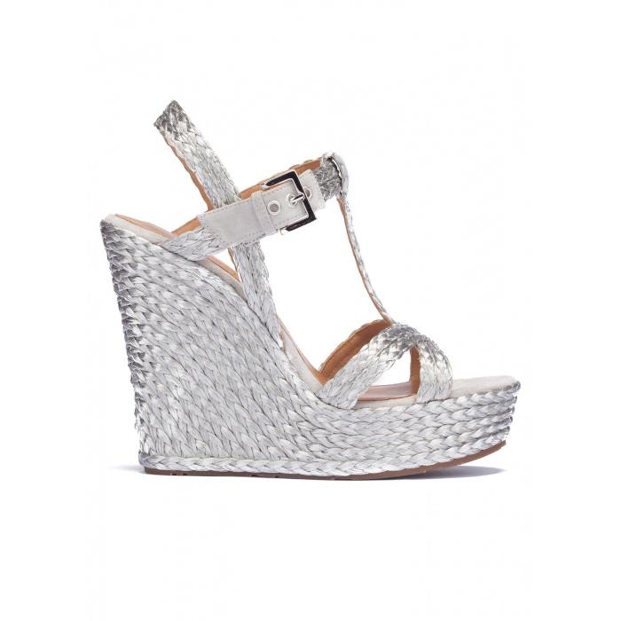 Silver T-bar espadrille wedge sandals