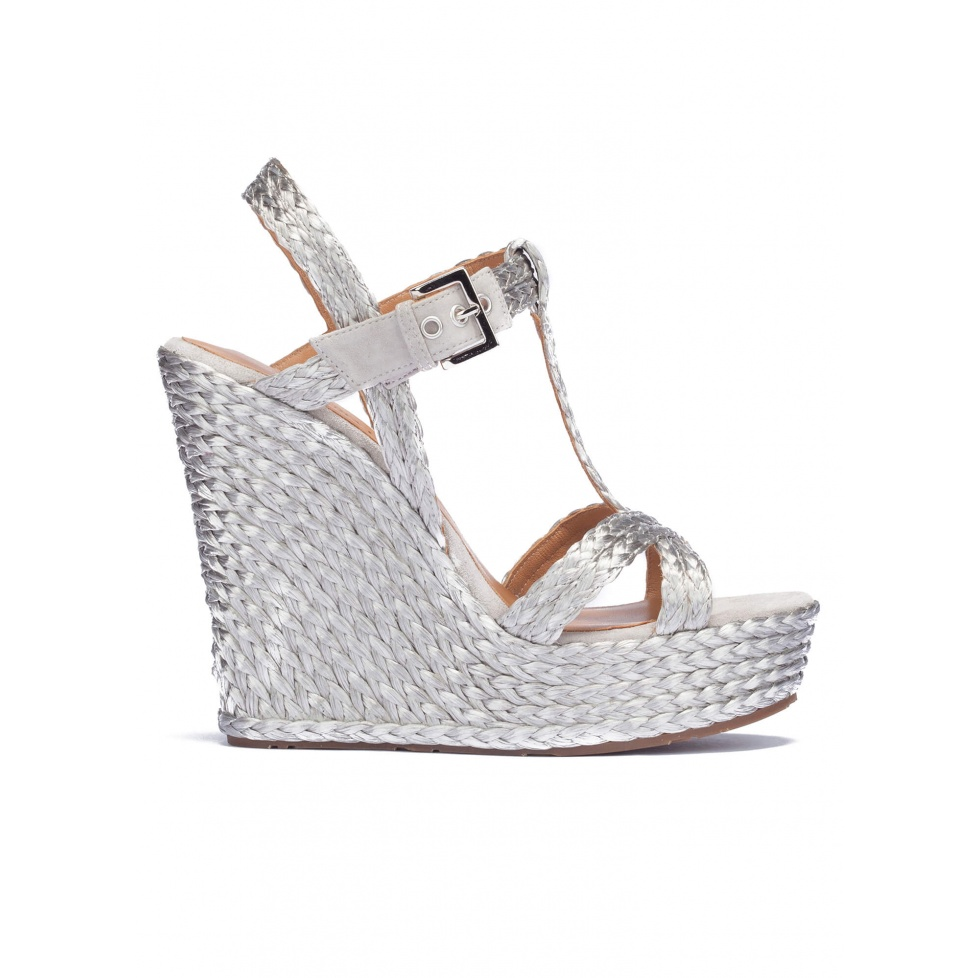 Silver T-bar espadrille wedge sandals