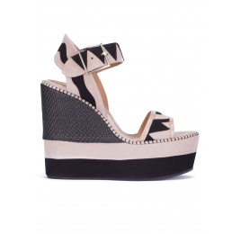Two-tone high wedge sandals Pura López