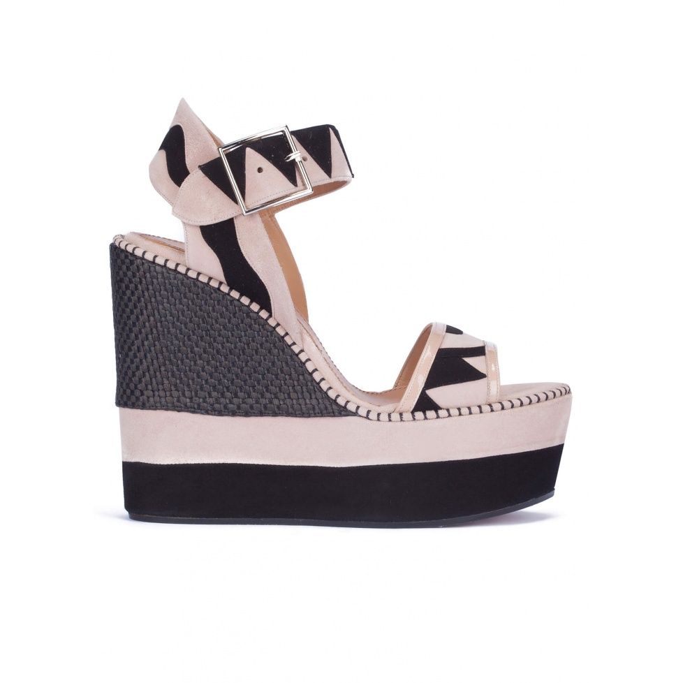 Two-tone high wedge sandals