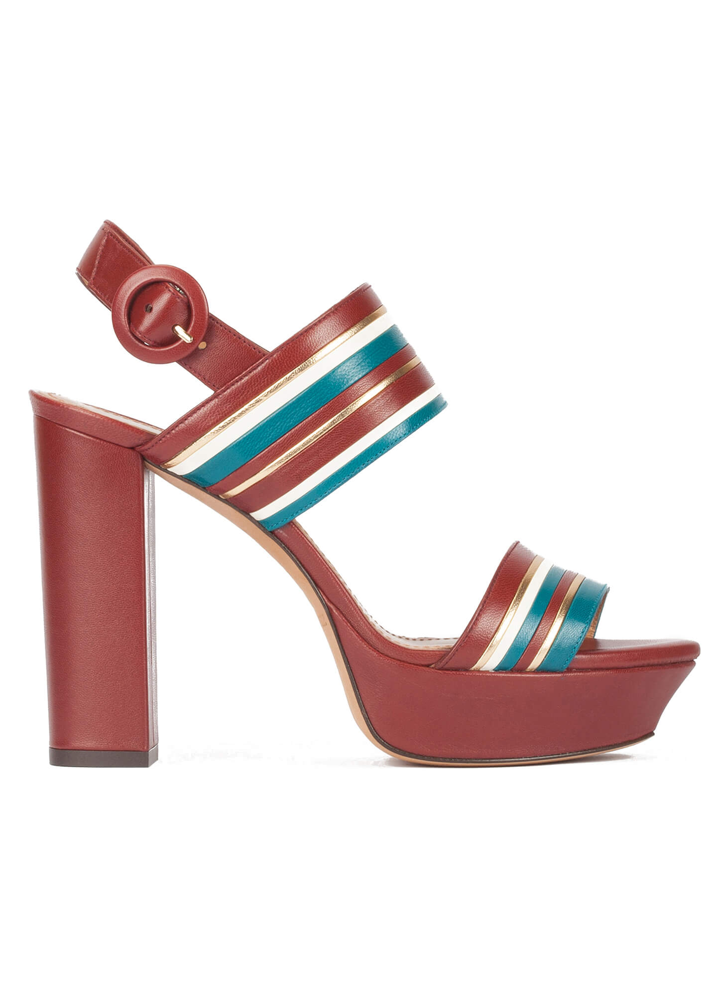 8bfc8fe51207 Multi-strap platform high block heel sandals in burgundy leather .