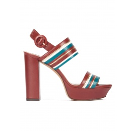 Multi-strap platform high block heel sandals in burgundy leather Pura López