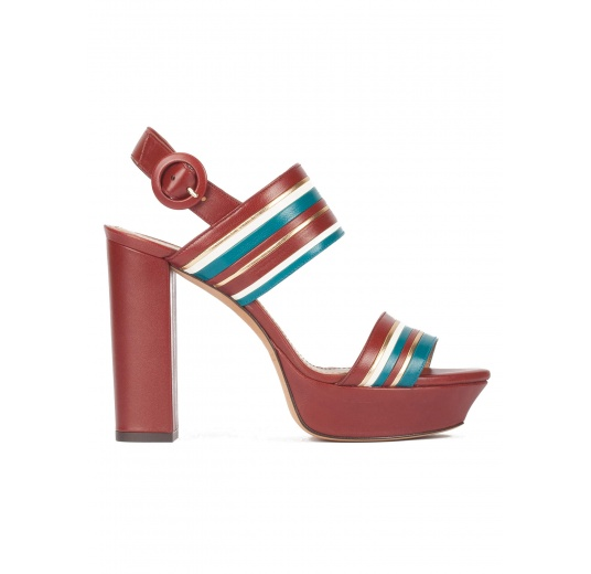 Multi-strap platform high block heel sandals in burgundy leather Pura L�pez