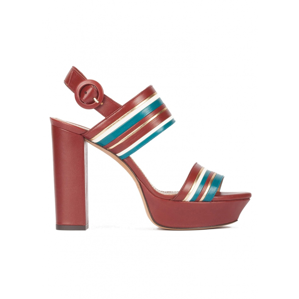 Multi-strap platform high block heel sandals in burgundy leather
